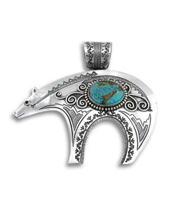 Santa Fe Jewelry Silver Bear Pendant with Turquoise