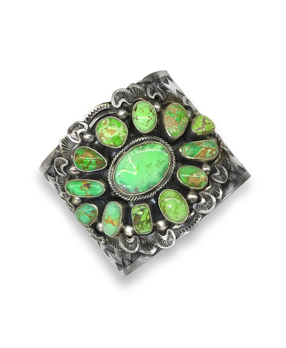 Santa Fe Jewelry Sterling silver cuff with green turquoise cabochons
