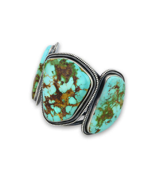 Santa Fe Jewelry Ernest Begay Sterling Silver Cuff with 3 Turquoise Pieces.
