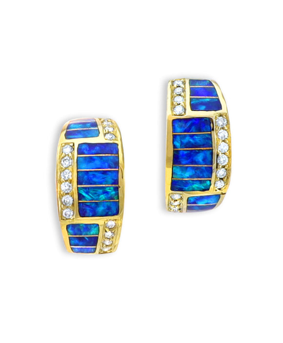 Santa Fe Jewelry Maverick's 14K Gold Opal Inlay Earrings with Diamonds.