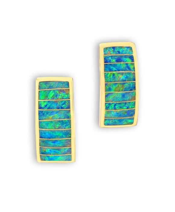 Santa Fe Jewelry Maverick's 14k Gold Opal Inlay Earrings