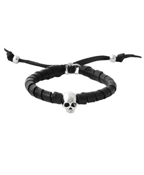 Santa Fe Jewelry Leather Sante Fe King Baby Bracelet with Hamlet skull in silver.