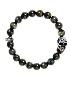 Santa Fe Beads King Baby Tiger's Eye Beaded Stretchy bracelet with skull.