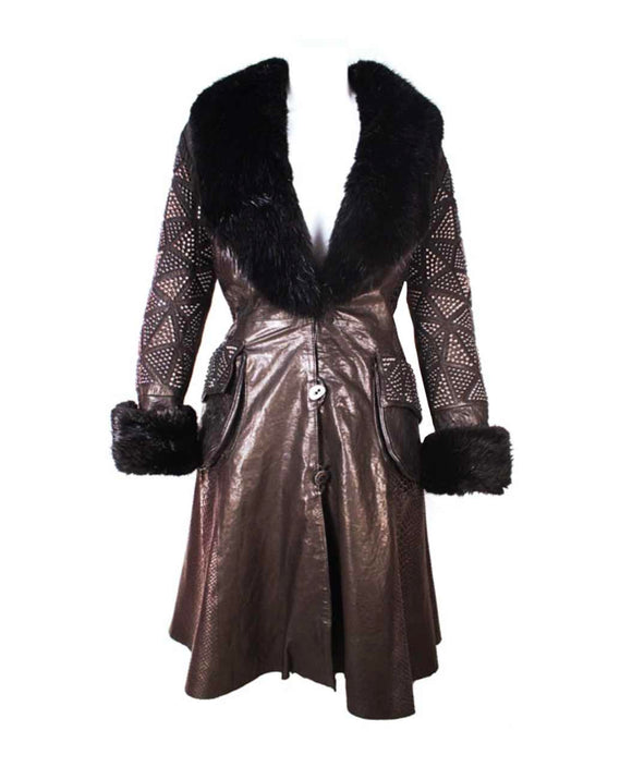 Santa Fe Leather Jacket Kippys Diamond Spike 3/4 Coat