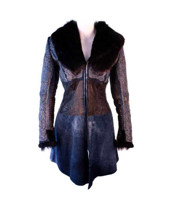 Santa Fe Leather Jacket Kippys Leather Puthon Corset Waist Stiched Jacket