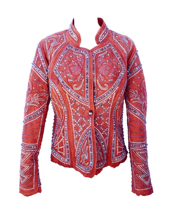 Santa Fe Western Clothes Kippys Ceremonial Skin Cognac Leather Jacket.
