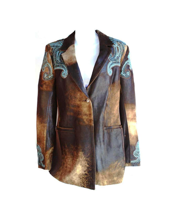 Santa Fe Leather Jacket Carina Tux Jacket with Crystal Overlay