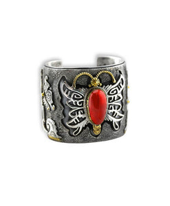 Larry Martinez Chavez Sterling Silver Red Coral Butterfly Cuff