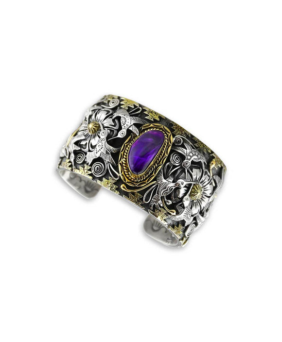 Larry Martinez Chavez Sterling Silver Sugilite Flower and Hummingbird Cuff