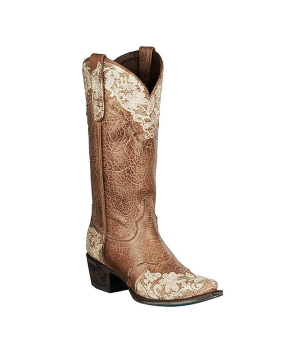 Santa Fe Cowboy Boots Lane- Jeni Lace Boot Brown
