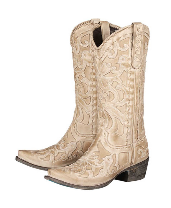 Santa Fe Cowboy Boots Lane - Robin Floral Inlay both shoes.