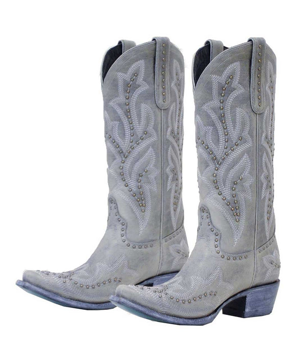 Santa Fe Cowboy Boots Lane - Saratoga Stud, Light grey both shoes.
