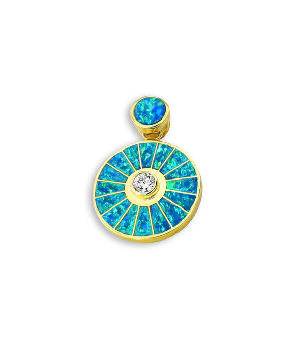 Santa Fe Jewelry Maverick's Opal Diamond 14k Wheel Pendant.