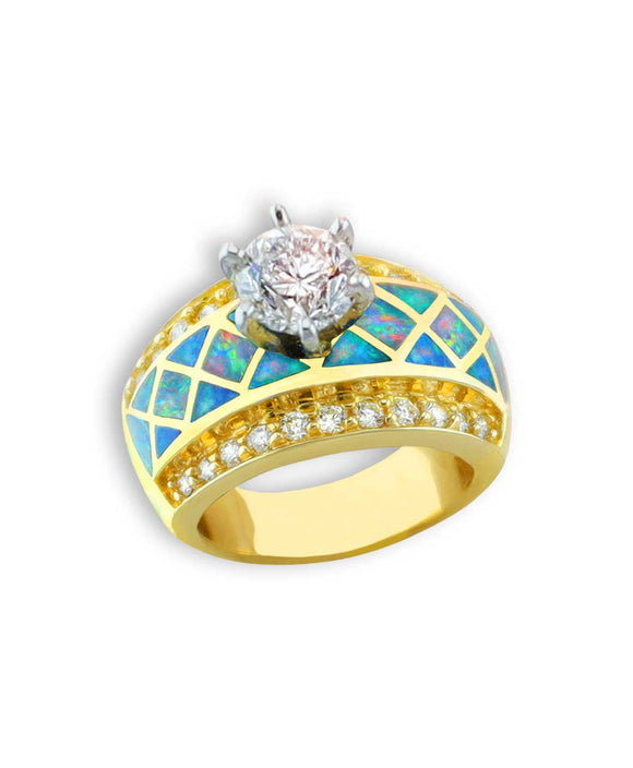 Santa fe Jewelry Maverick's Diamond Solitaire 14 Gold ring with opal inlay.