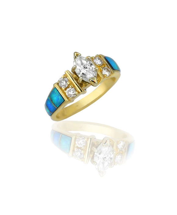 Santa Fe Jewelry Maverick's Opal Inlay Marquise Diamond Wedding Ring