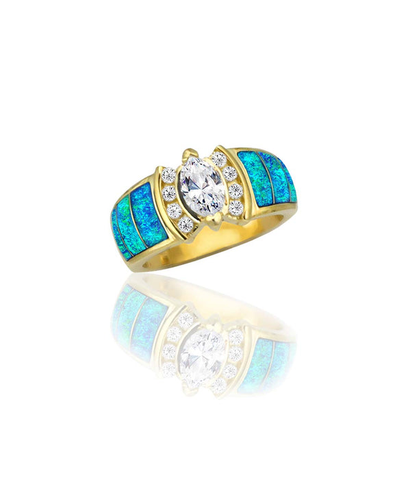 Santa Fe Jewelry Maverick's 14K Wide Opal Inlay Maquise Diamond Wedding Band.