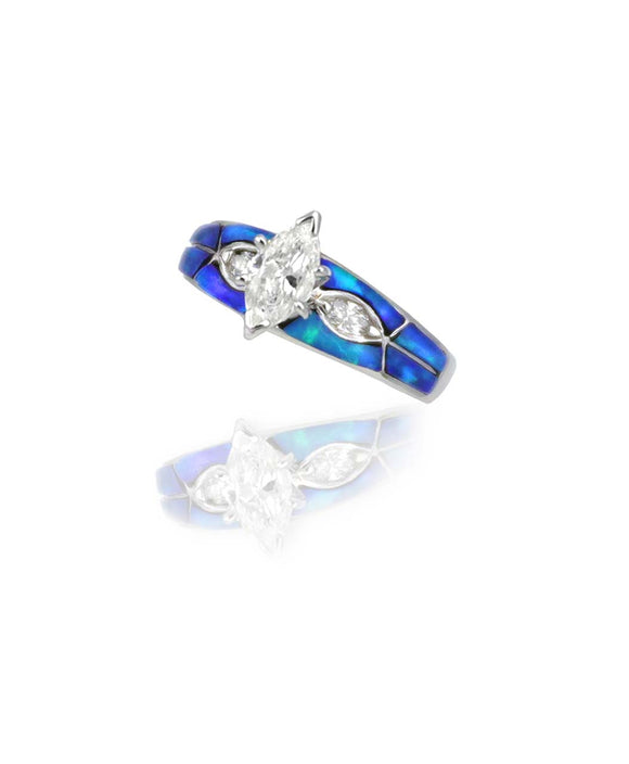 Santa Fe Jewelry Maverick's 14K White Gold Blue Opal Inlay