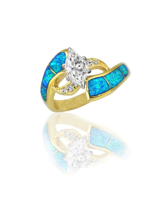 Santa Fe Jewelry Maverick's 14K Opal Inlay Marquise Diamond Wedding Ring.