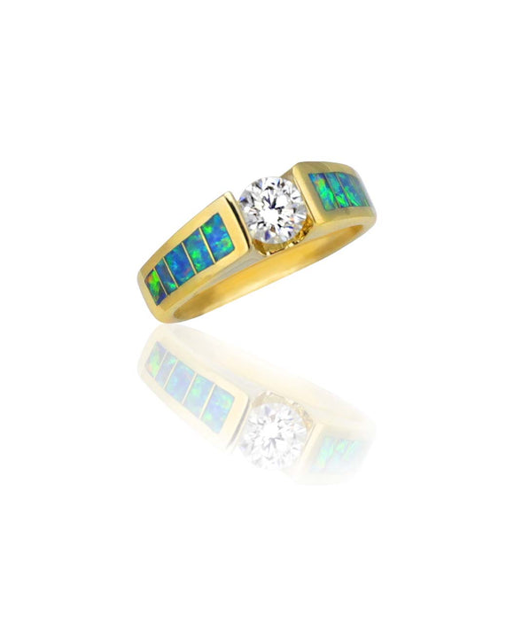 Santa Fe Maverick's 14K Gold Opal Inlay Diamond Tension Set Engagement Ring.