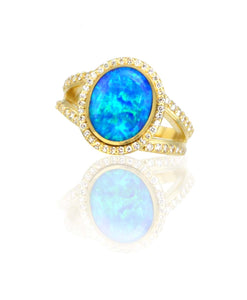 Maverick's 14K Blue Opal Ring With Diamond Halo
