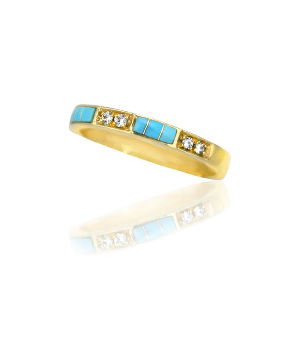 Santa Fe Jewelry Maverick's 14k Gold band Turquoise Inlay and Diamonds