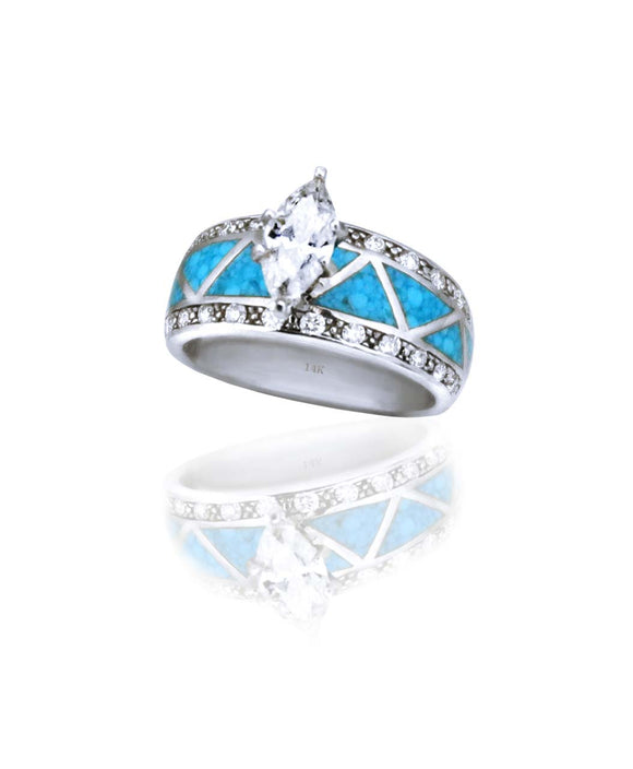 Maverick's 14K White Gold Turquoise Inlay Marquise Diamond Wedding Band