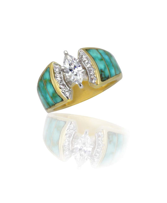 Santa Fe Jewelry Maverick's 14K Green Turquoise Inlay Wedding Band.