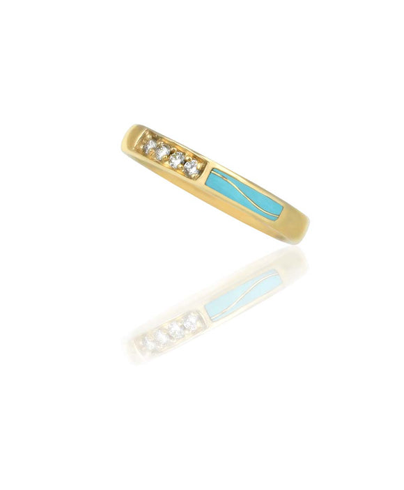 Santa Fe Jewelry Maverick's 14K gold Band Diamonds and Turquoise.