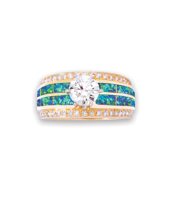 Diamond ring with opal inlay by Mavericks of Santa Fe