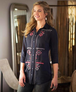 Santa Fe Western Clothes Ryan Michael Women's Embroidered Tunic