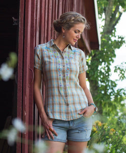 Santa Fe Western Clothes Ryan Michael Women's Embroidered Plaid Shirt