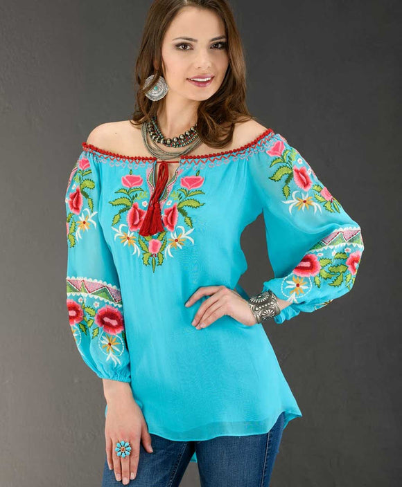 Santa Fe Western Clothes Vintage Collection Turquoise Georgette Tunic