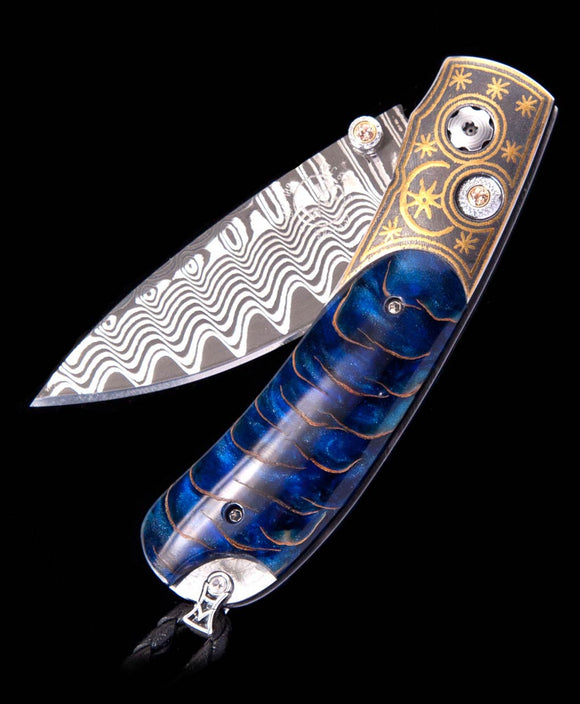 Santa Fe Knives Kestrel Blue Moon Beautiful Pocket Knife