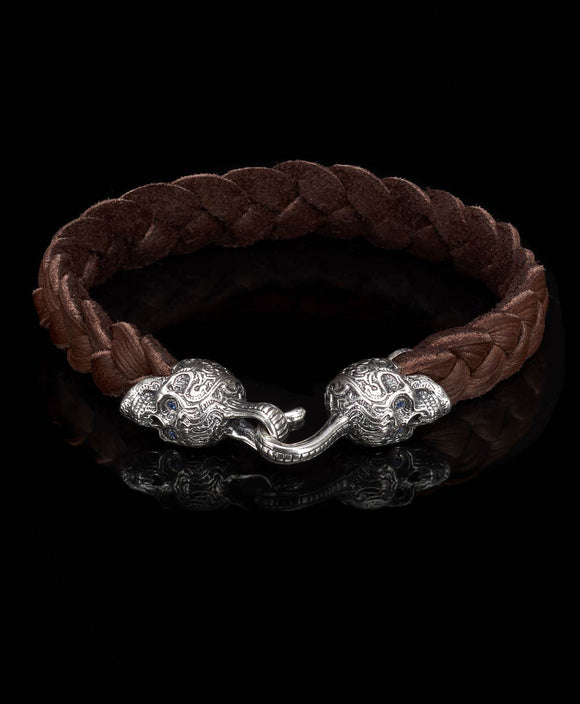 Santa Fe Jewelry William Henry Braided Leather Buccaneer Bracelet with Engraved Skulls