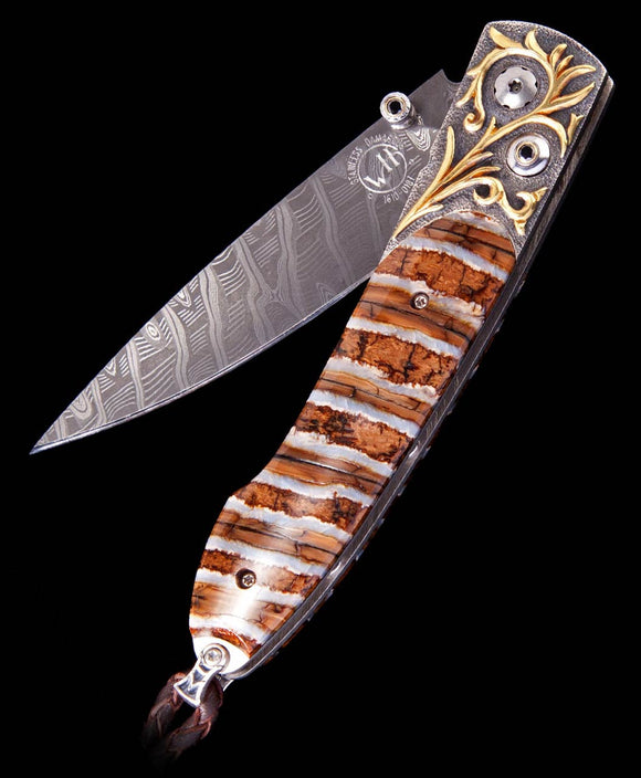 Santa Fe Knives William Henry Lancet Golden Age Mammoth Inlay Pocket Knife