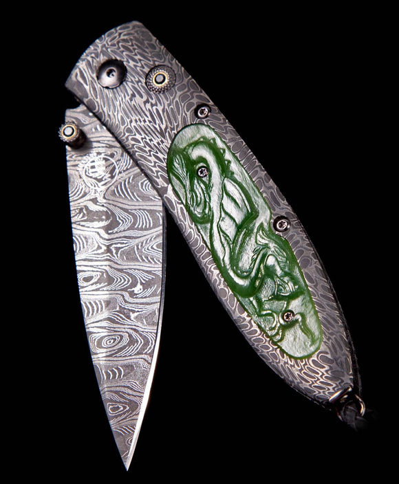 Santa Fe Knives William Henry Monarch Artemis Carved Green Jade Pocket Knife