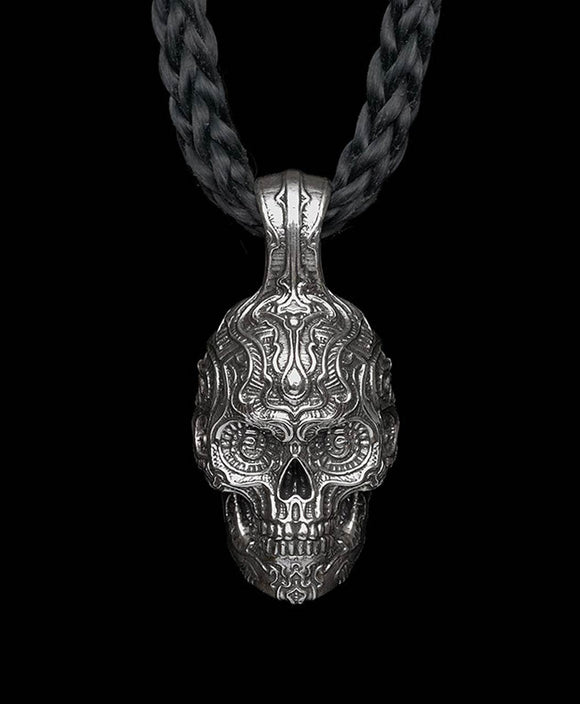 Santa Fe Jewelry William Henry Men's Black Beard Skull Necklace