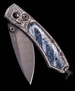 Santa Fe Knives William Henry Kestrel Silver Lair with Fossil Coral