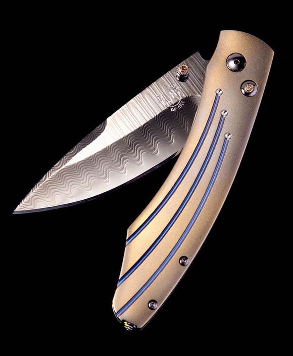 Santa Fe Knives William Henry Spearpoint Burns Titanium, Damascus Pocket Knife