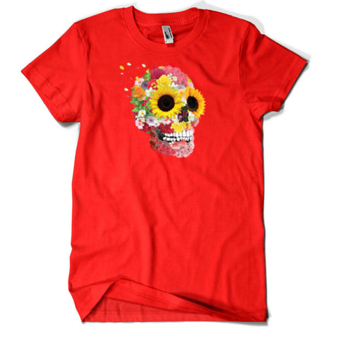 skull and flowers t shirt