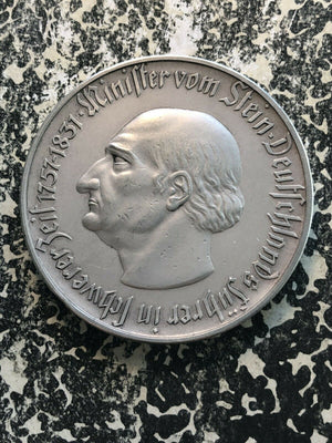 1923 Germany Westphalia Notgeld 1 Billion Mark Massive Silvered Bronze Piece!