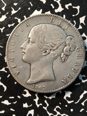 1847 Great Britain 1 Crown Lot#JM350 Large Silver Coin! Low Mintage Old Cleaning
