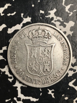 1868 Spain 40 Cents Lot#X7652 Silver!