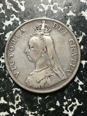 1887 Great Britain Double Florin Lot#L443 Large Silver Coin!