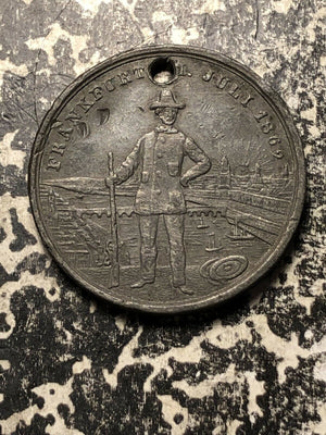 1862 Germany Frankfurt Shooting Medal Lot#JM672 ~30mm Bent & Holed
