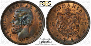 1900-B Romania 1 Ban PCGS MS64 Red Brown Lot#G874 Beautiful Example!