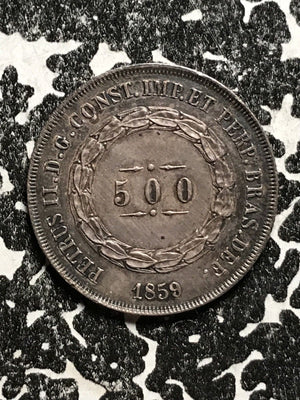 1859 Brazil 500 Reis Lot#X6093 Silver! High Grade! Beautiful Toning! July Pick!