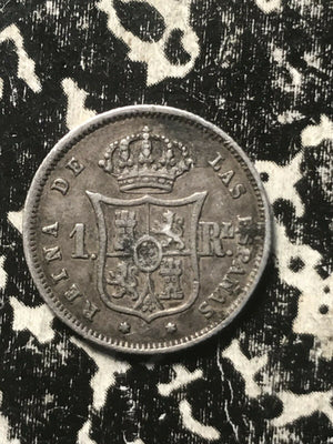 1860 Spain 1 Real Lot#L287 Silver!