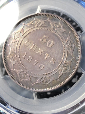 1870 Newfoundland 50 Cent Silver PCGS XF45 Lot#G008 Low Mintage! Nice Toning!