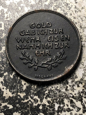 1916 Germany 'Iron for Gold' Lot#JM671 WWI Iron Medal